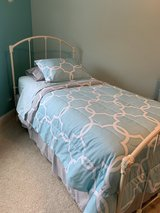 *LIKE NEW* two two size, antique white iron beds frames (headboard/footboard/rails) in Aurora, Illinois