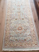 XL Robbins egg Blue Authentic Turkish Oushack Wool Rug Runner in Spring, Texas