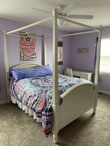 Full canopy bed set with matching vanity and chair in Aurora, Illinois