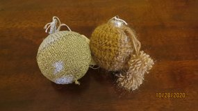 New 2 Ornaments Sparkling Crocheted Christmas 1 Gold 1 Silver #65 in Warner Robins, Georgia