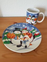 Snowman Plate and Cup (never been used) in Ramstein, Germany