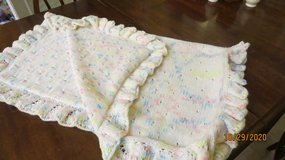 "New Knitted Ruffled Baby Blanket #101-1 White w/Pastel Colors 35"" X 29"" in Warner Robins, Georgia"