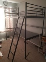 Ikea metal loft bed with desk in St. Charles, Illinois