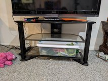 Glass and metal TV stand in St. Charles, Illinois