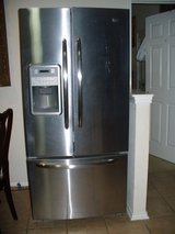 Used MYTAG 22 c.u. ft, french door, 3 doors, stainless steel fridge. New at Home Depot $2,388.00 in Converse, Texas
