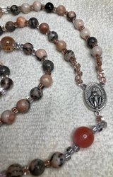 Rosary Catholic Pink Zebra Jasper Cherry Quartz Pater Beads Italian  Silver Medal and Crucifix New in Kingwood, Texas