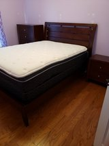 Dark Cherry Wood Queen Size Bedroom Set w/pillow top mattress and box spring in Camp Lejeune, North Carolina