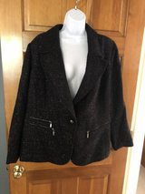 Laura Ashley Black Sparkly Jacket with Silver Zippers - 2X in Batavia, Illinois