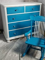 Refinished girls dresser and mirror with bling! in Plainfield, Illinois
