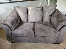 Grey mircosuede love seat in St. Charles, Illinois