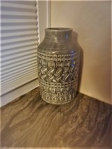 Glossy Gray Textured Ceramic Vase in Batavia, Illinois