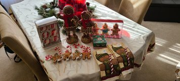 Gingerbread Christmas Lot ornaments candles towels decoration picks in Chicago, Illinois