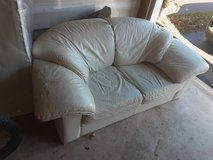 White leather couch in Yorkville, Illinois