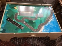 Train table/ Lego play table with wooden train parts and  track in Baumholder, GE