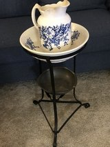 Antique wash stand with matching bowl and large water pitcher in Fort Meade, Maryland