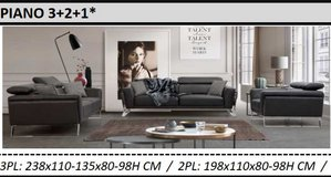 United Furniture - Piano 3-2-1 in Anthricite or Cognac color including delivery in Stuttgart, GE