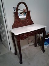 Vintage Vanity with oval mirror and marble top in Denton, Texas