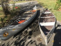 14' &  11' Canoes with paddles in Batavia, Illinois