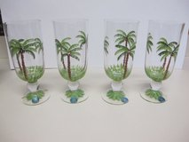 Hand Painted Coconut Palm Tree Wine/Water Goblet Glasses in Cherry Point, North Carolina