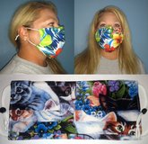 Face Masks 100% Cotton Reversible with Nose Wire - Carolina Panthers w/Blue & White Stars in Camp Lejeune, North Carolina