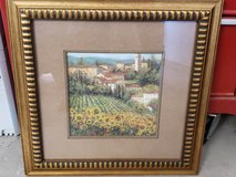 Framed Art Italian Village with Sunflowers in Spring, Texas