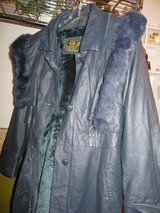 Womens long leather coat with hood in Belleville, Illinois