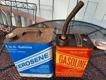 Two old gasoline kerosene cans in Chicago, Illinois
