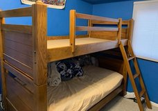 Twin bunk beds solid wood with 2 mattresses in Sugar Grove, Illinois