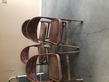 4 wooden and leather chairs in Alamogordo, New Mexico