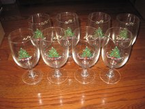 8 Cristal d'Arque Wine Water Christmas Tree Glasses w/ Teddy Bear, Rocking Horse, etc in Clarksville, Tennessee