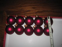 """Set of 10 Glass Matte Maroon Christmas Ornaments 1 1/2"""" in Clarksville, Tennessee"""