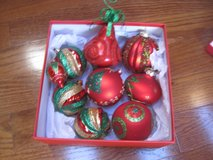 Lot of 9 Shatterproof and Glass Glittery Red, Gold and Green Christmas Ornaments in Clarksville, Tennessee