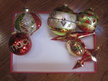 Lot of 7 Green, Red and Gold Glass Christmas Ornaments in Clarksville, Tennessee