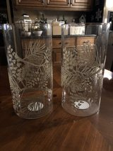 "2 Glass 10""  Cylinders with Silver Glitter Leaves & Pinecones for Candles or Flowers in Chicago, Illinois"