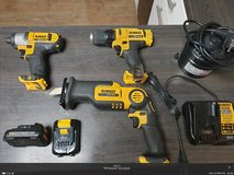 DeWalt Drill + Impact + Pivot saw + 2 batteries + charger 12 V in Ramstein, Germany