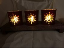 NEW Hallmark Snowflake Candle Holders with wood tray in Fairfield, California