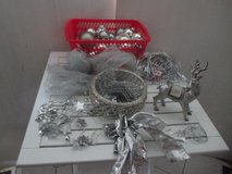 silver christmas decorations with lovely reindeer in Ramstein, Germany
