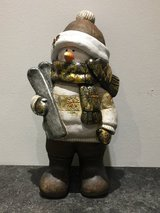 Ceramic Christmas Snowman with skis in Ramstein, Germany