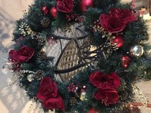 Large pre lit decorated wreath in Westmont, Illinois