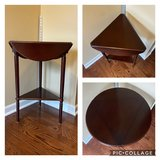 Drop-Leaf Triangle Corner Accent Table Cherry Finish in St. Charles, Illinois