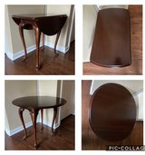 Drop-Leaf End Table Cherry Finish Cabriole Leg in Batavia, Illinois