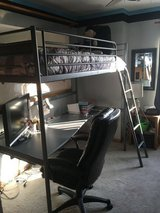 Twin size gray metal loft bed w/ desk in Chicago, Illinois