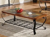 Decorative wood inset coffee table in Kansas City, Missouri