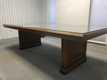 Solid WOod with glass table top  protection Dinning Table in Kansas City, Missouri