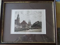 """colored picture of """"Pirmasens"""" - wooden frame - handsigned in Ramstein, Germany"""
