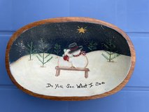Hand Painted Snowman Wooden Bowl in Warner Robins, Georgia