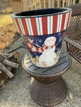 "Snowman and woodland animals pot by ""studio m"" in Batavia, Illinois"