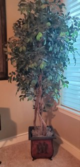 Beautiful artificial tree with decorative metal container in Kingwood, Texas