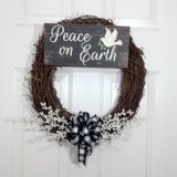 Christmas Grapevine Wreath with Peace on Earth Wooden Sign and Buffalo Plaid Bow in Camp Lejeune, North Carolina