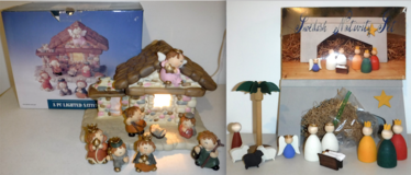 Christmas Holiday Nativity Set - 8pc lighted ceramic -OR- Swedish Wooden Set in Orland Park, Illinois
